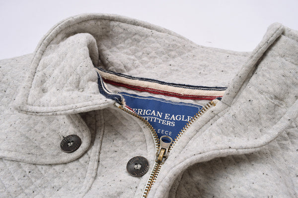 "Men's ""American Eagle"" Full Fashion Zipper Quilting Stylish Jacket- Gray Melange -AEZJ16"