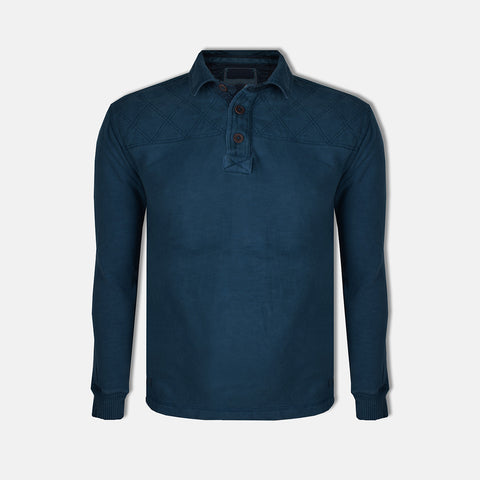 "Men's Cut Label ""North Coast""  Polo Shirt-Dark Cyan-BE31"