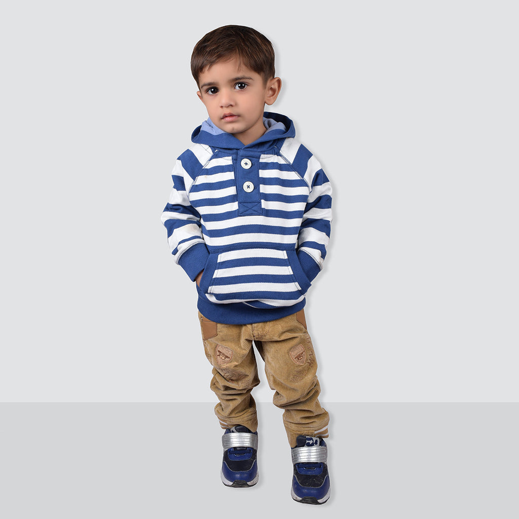 "Kid's Cut Label ""NEXT"" Stylish Striper Fleece Henley Hoodie-KFH02"