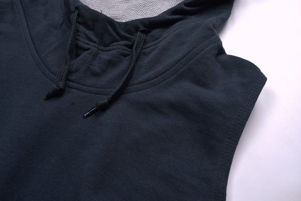"Men's Cut Label ""B&C"" Stylish Sleeve Less Hoodie-Navy-SLH01"