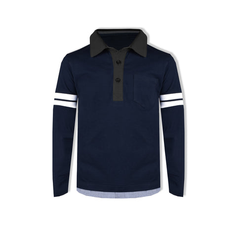 "Kid's Cut Label ""NEXT"" Stylish Rugby Polo shirt-Dark Navy- KSP02"
