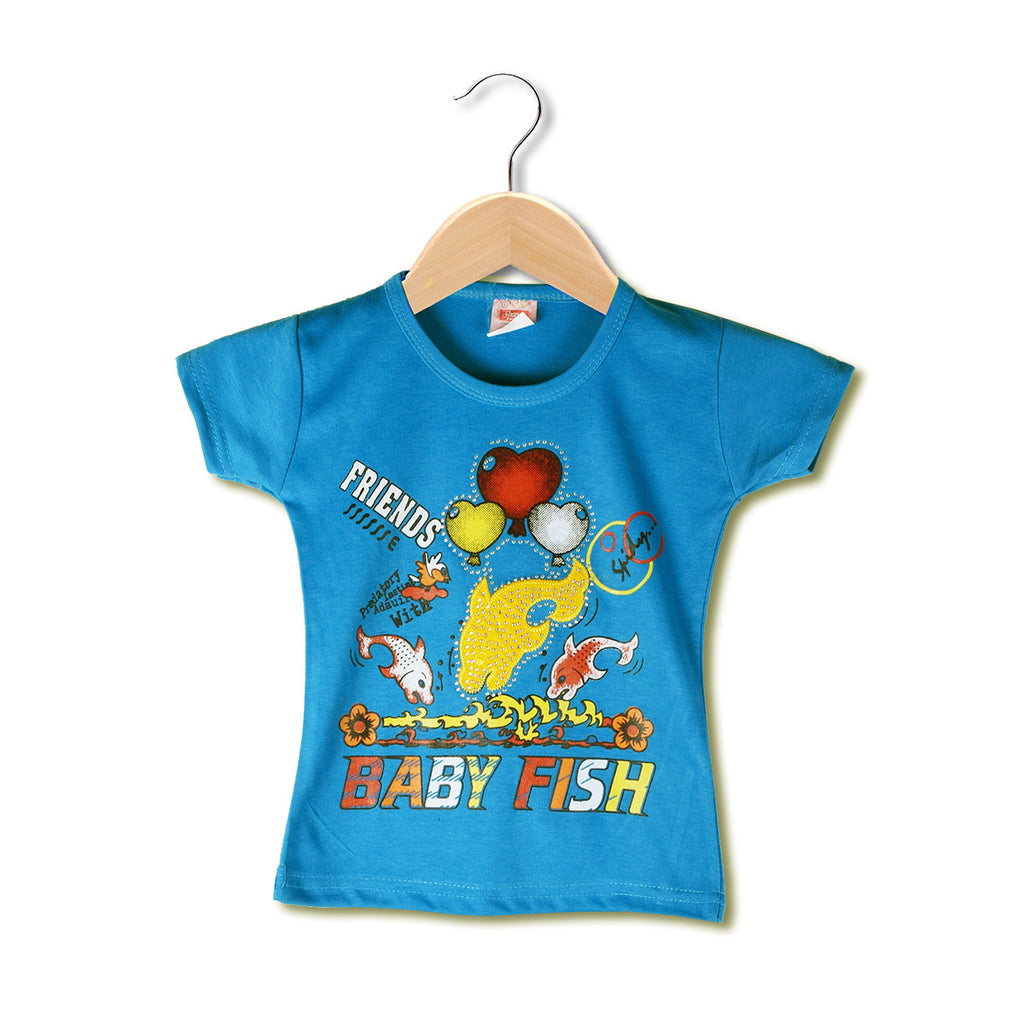 "Girls Top's""A.S' Crew neck Top-Blue-(T22)"