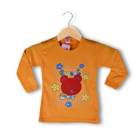 "Girls Top's""A.S' Crew neck Top-Light Orange-(T23)"