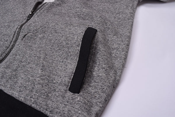 "Kids Cut Label ""NEXT"" Zipper Hoodie-Gray & Charcoal -KTS05"