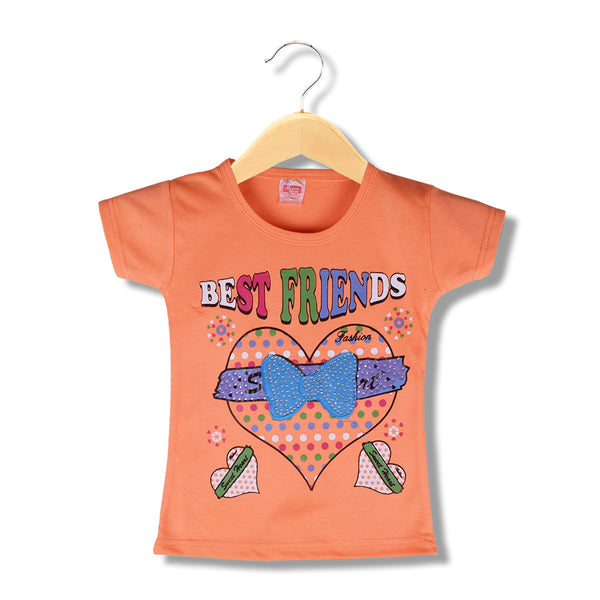 "Girls Top's""A.S' Crew neck Top-Orange-(T27)"