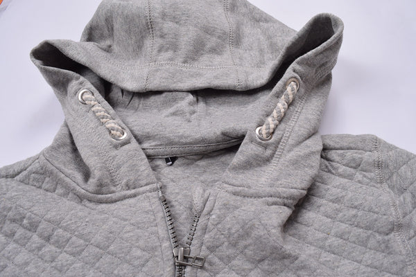 "Kids Cut Label ""NEXT"" Quilting Fabric 1/3  Zipper Hoodie-Gray -KTS04"
