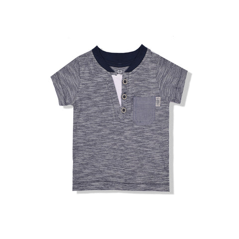 B Quality Next Henley Y Neck T Shirt For Kid-Gray Melange-BE2070