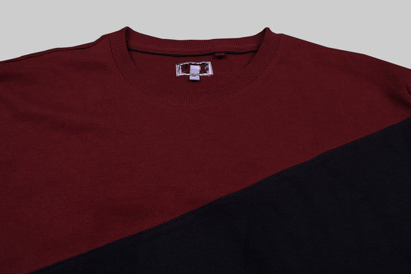 "Men's Cut Label ""Fat Face"" Crew Neck Terry Fleece Sweatshirt-Navy Gray & Red Panels-BE22"