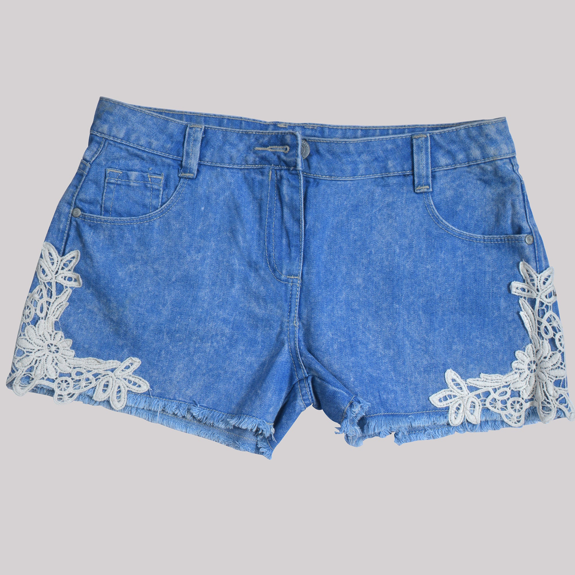 brandsego - Tammy Girl Denim Short For Girls-Blue With Dirty Wash-SP527