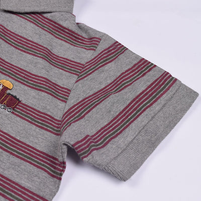 brandsego - Next Polo Shirt For Kid-Gray & Maroon Striped-BE2072