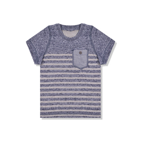 B Quality Next Crew Neck T Shirt For Kid-Blue Melange & Gray Stripe with Pocket Style-BE2071