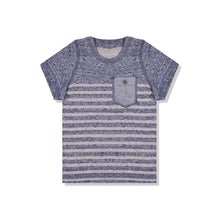 Next Crew Neck T Shirt For Kid-Blue Melange & Gray Stripe with Pocket Style-BE2071