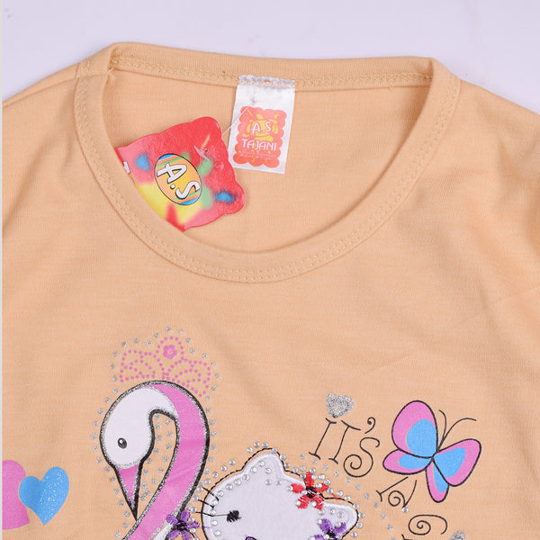 "Girls Top's""A.S' Crew neck Top-Skin-(T24)"