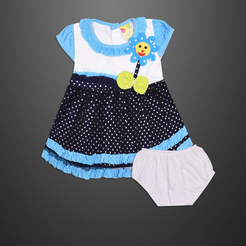 Kid's & Fashion White & Navy With White Dots & Sky panel Frock & Pantie - 03