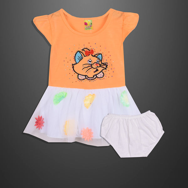 Kid's & Fashion Orange Body With Colourfull Flowers Frock & Pantie - 07