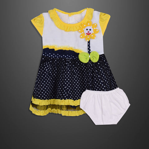 Kid's & Fashion White & Navy With White Dots & yellow panel Frock & Pantie - 08