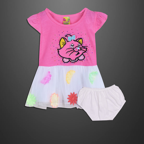 Kid's & Fashion Pink Body With Colourfull Flowers  Frock & Pantie - 05
