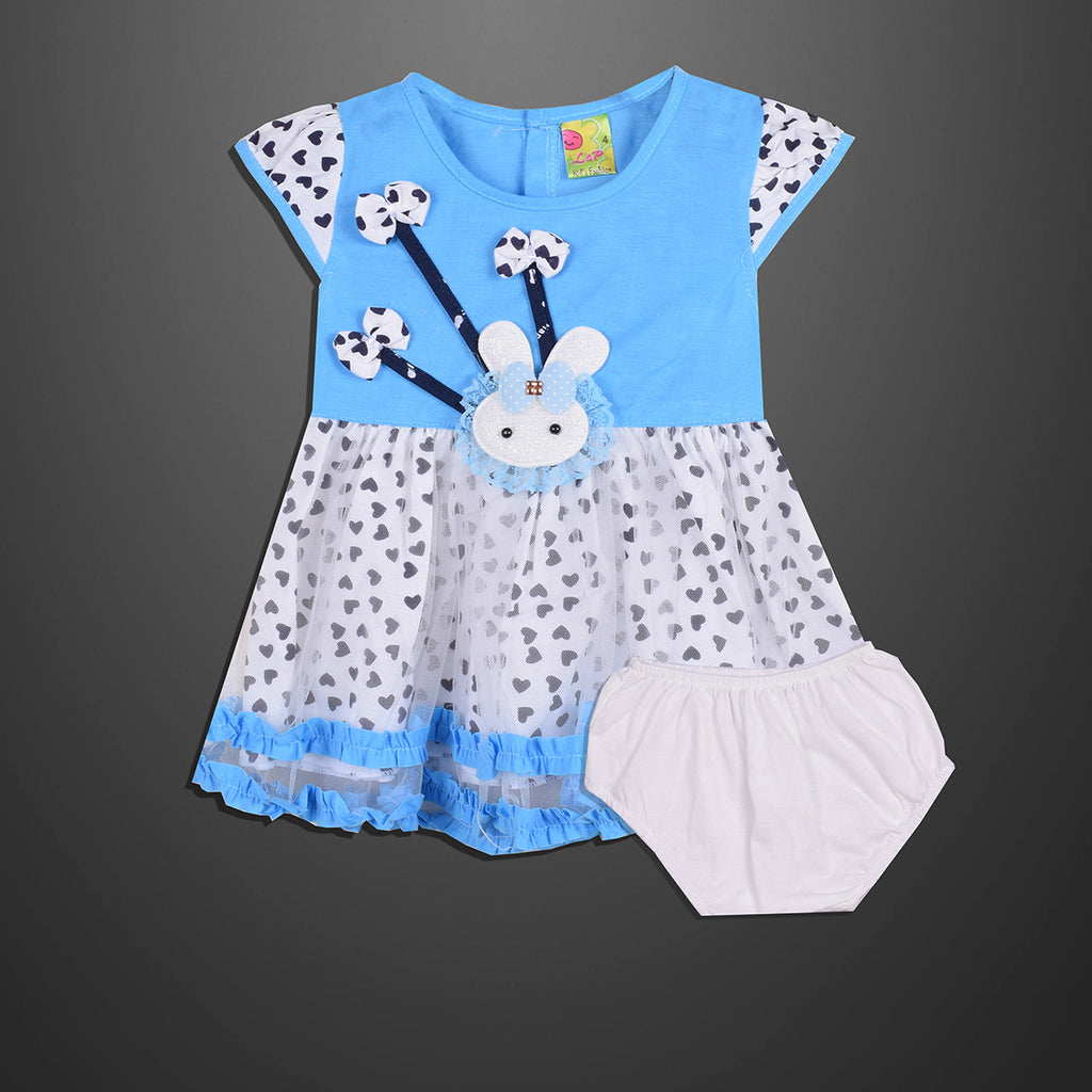 Kid's & Fashion White & Sky Body With Black Hearts Frock & Pantie - 06