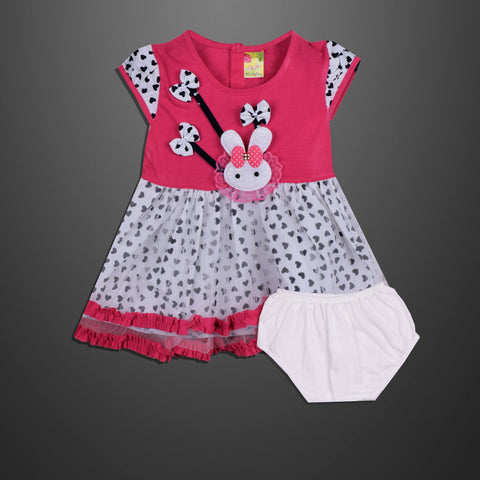 Kid's & Fashion Pink & White With Black Hearts Frock & Pantie - 04