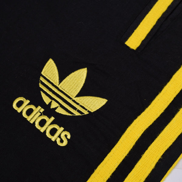 Adidas Cotton Trouser For Men-Black With Light Yellow Stripes-BE2377