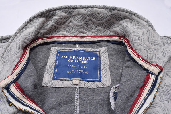 "Men's ""American Eagle"" Full Fashion Zipper Fleece Stylish Jacket- Gray Zipper Style-AEZJ25"