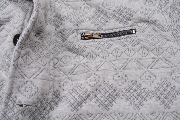 "Men's ""American Eagle"" Full Fashion Zipper Quilting Stylish Jacket- All Over Gray Zipper Style -AEZJ54"