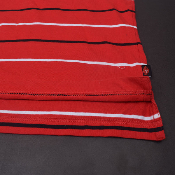 "Men's Cut Label ""Kukri"" Striper Polo Shirt-Red-(SS103)"