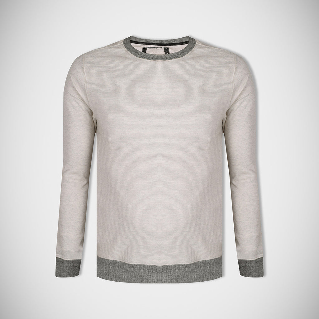 "Men's Cut Label ""Next"" Crew Neck Terry Fleece Sweatshirt-Off White-BE52"