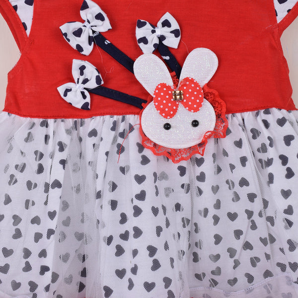 Kid's & Fashion Red & White With Black Hearts Frock & Pantie - 01