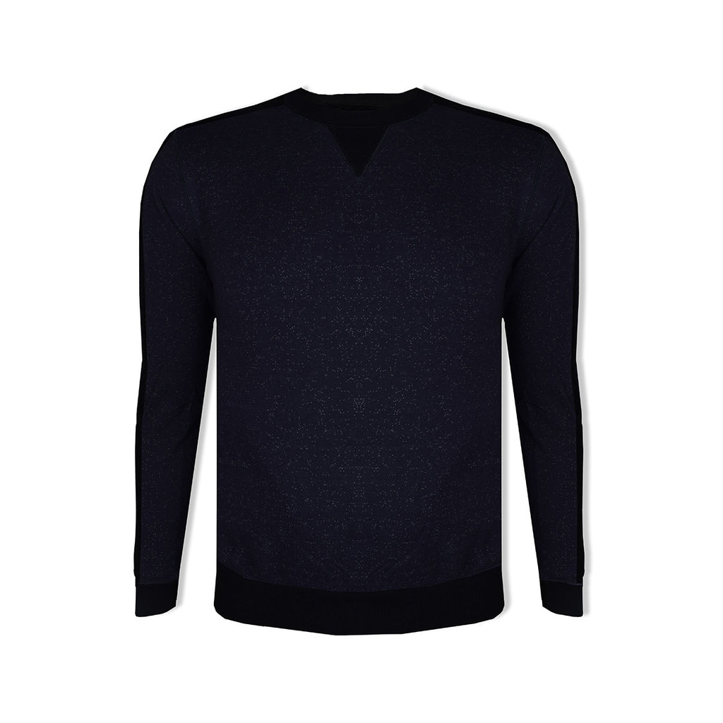 "Men's Cut Label ""Next"" Crew Neck Fleece Dark Navy Melange With Quilting Style Sweatshirt -Dark Navy-BE49"