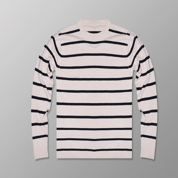 "Men's ""JINSHIBAO"" Stylish Crew Neck Striper Wool Jersy-Cream & Black-BE99"