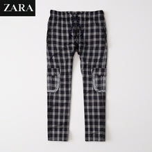 Zara Man 6 Pocket Cotton Check Trouser For Men-Black & White Lining-BE2443
