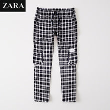 Zara Man 6 Pocket Cotton Check Trouser For Men-Black & White-BE2497