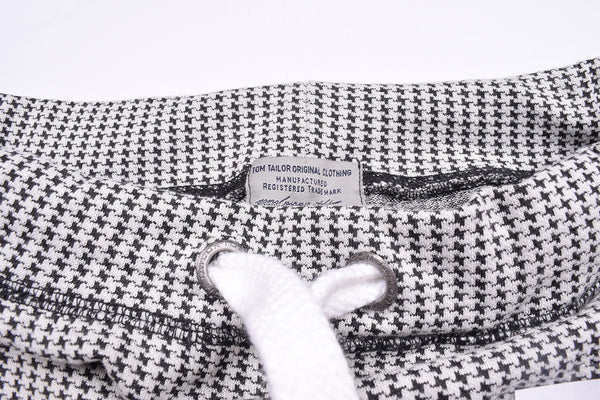 "Men's ""Tom Tailor"" Stylish White & Black Check Regular Fit Stretch Trouser-TTT28"