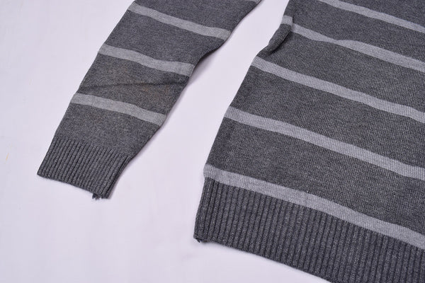 "Men's ""JINSHIBAO"" Stylish Crew Neck Striper Wool Jersy-Dark Gray & Slate Gray-BE101"