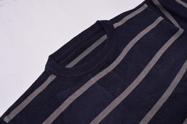 "Men's ""JINSHIBAO"" Stylish Crew Neck Striper Wool Jersy-Purple & Gray-BE97"
