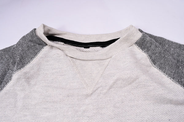 "kid's Cut Label ""Next"" Crew Neck Full Sleeve P.Q Terry Fleece Shirt-Gray & Gray Melange-HSS055"