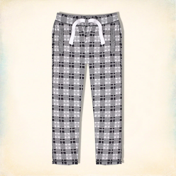 "Men's ""Tom Tailor"" Stylish Black & White Check Regular Fit Stretch Trouser-TTT35"