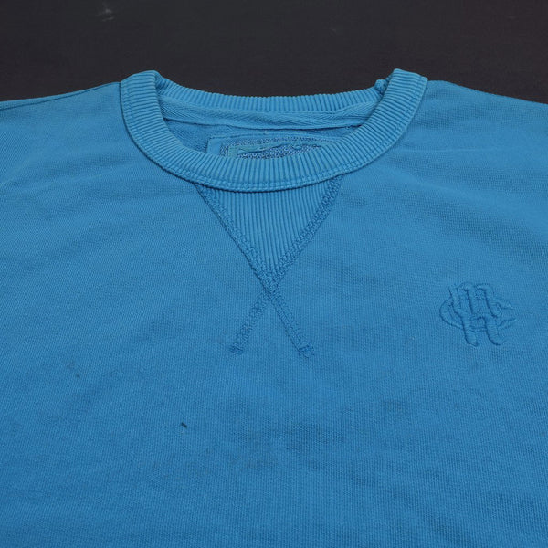 "Men's Cut Label ""M&S"" Crew Neck Terry Fleece Sweatshirt-Sky Blue-BE29"