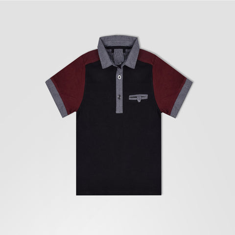 Next Polo Shirt For Kid Cut Label -Black & Maroon-BE2132