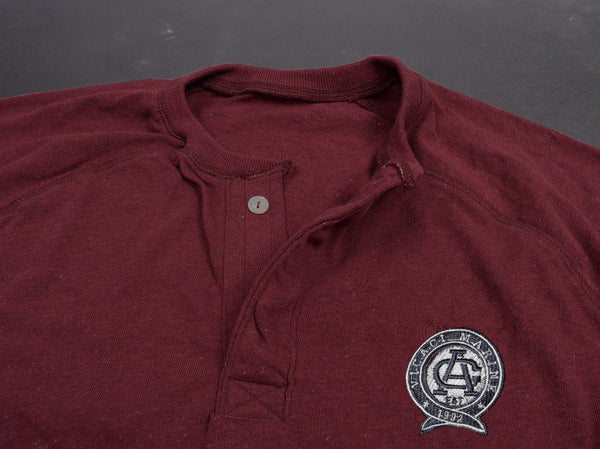 "Men's Cut Label ""Vicaci Marine"" Henley Long Sleeve -Maroon-(NRSPS8)"