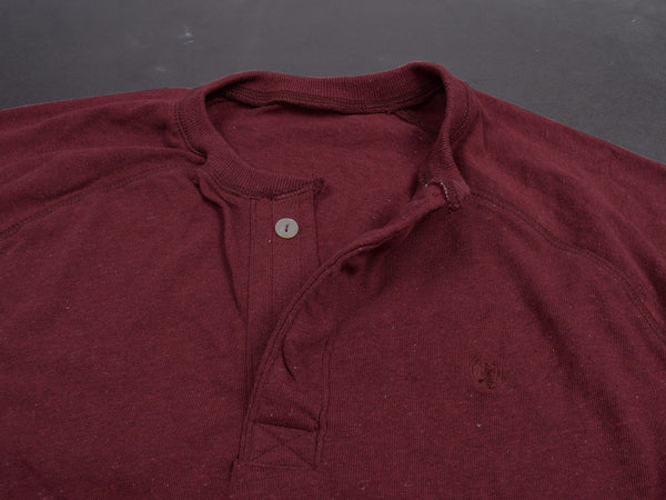 "Men's Cut label ""NEXT"" Thermal Henley Shirt-MAROON-1123"