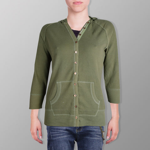"Ladie's Cut Label ""Cotton Edge"" Y Neck Henley Thermal Hoodie-Light Green-BE120"