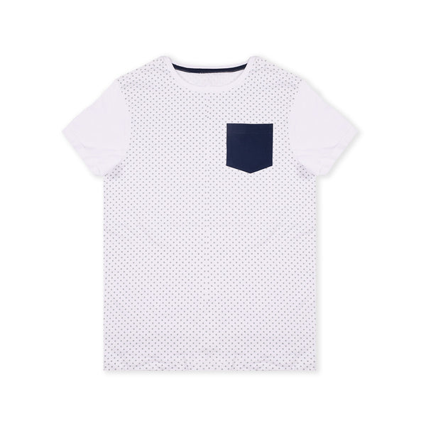 Next Crew Neck Half Sleeve T Shirt with Pocket Style For Kid-White Allover Print-BE2077