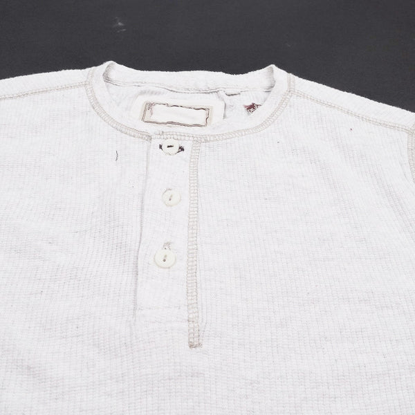"Men's Cut label ""NEXT"" Thermal Henley Shirt-Off White-(SS48)"