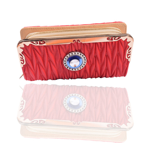 Ladies Stylish Double Zip Purse-Red-LP13