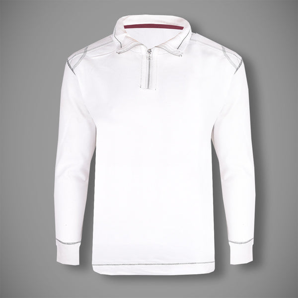 "Men's Cut Label ""Next"" Zipper Mockneck-White-(SS115)"