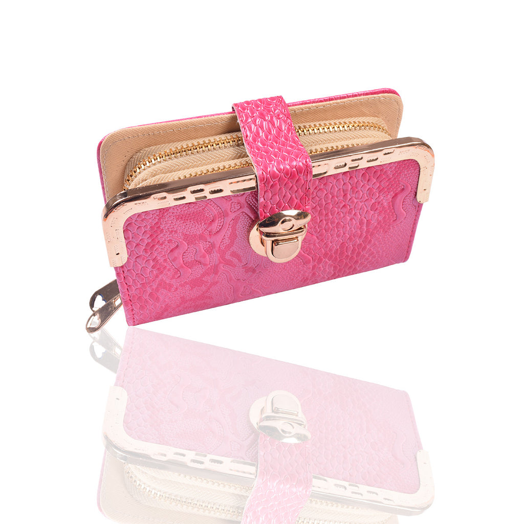 Ladies Stylish Double Zip Purse-Light Pink-LP17