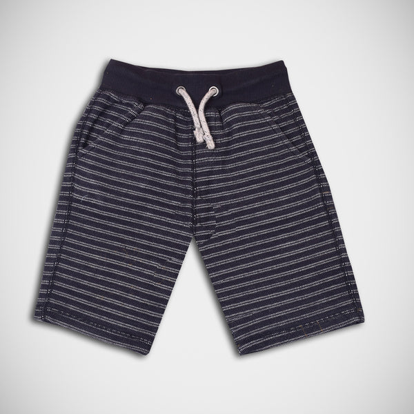 Kid's George Cut Label Stylish  Fleece Short-Navy  White stripes-GS18