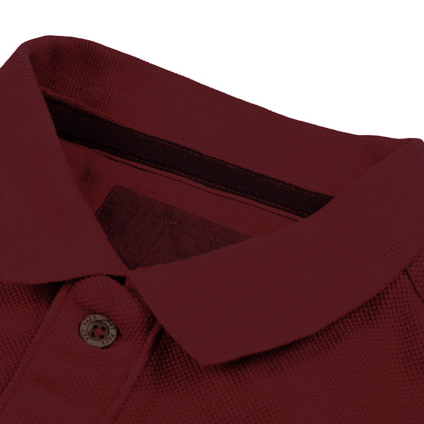 Fat Face P.Q Polo Long Sleeve Shirt For Man-Dark Magenta-BE3742
